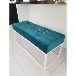 Loft Gesteppter Sitzbank mit Glaskristalle mit hochwertiger Polsterung und Stoffbezug mit mattschwarzem Gestell