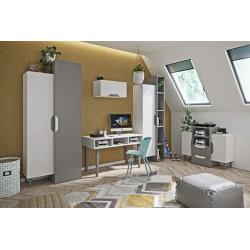 Jugendzimmermöbel Komplet Set ALAN 5-teilig, Farbe: Weiẞ/Platin