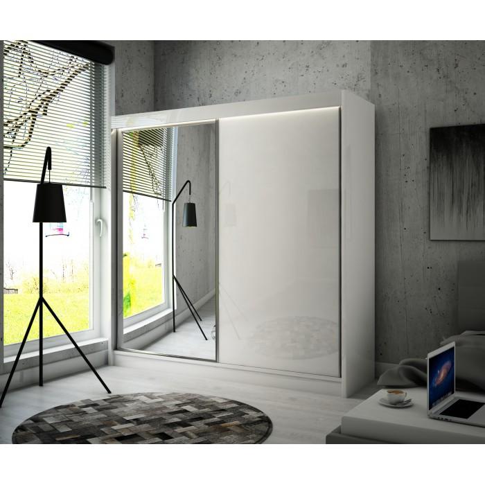 Schwebetürenschrank VELI mit Spiegel und Glaselementen 200 cm x215 cm
