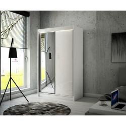 Schwebetürenschrank VELI mit Spiegel und Glaselementen 120 cm x 215 cm